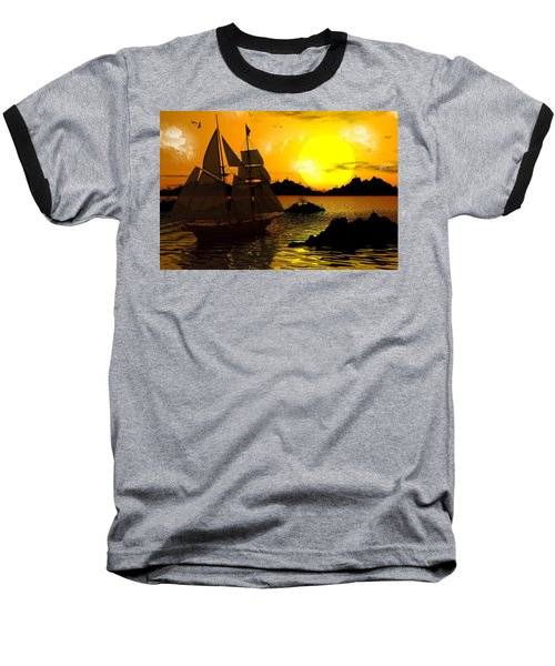 Wooden Ships Baseball T-Shirt by Robert Orinski