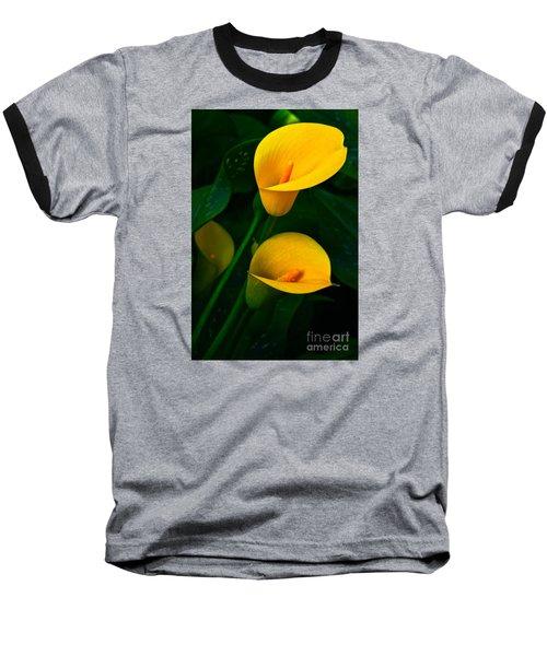 Yellow Calla Lilies Baseball T-Shirt by Byron Varvarigos