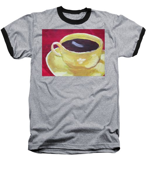 Yellow Cup On Red Baseball T-Shirt by Patricia Cleasby