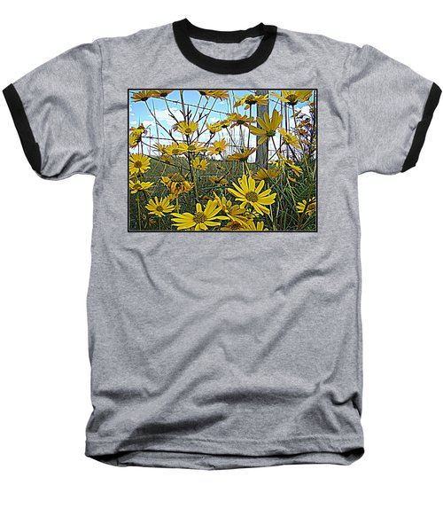 Baseball T-Shirt featuring the photograph Yellow Flowers By The Roadside by Alice Gipson