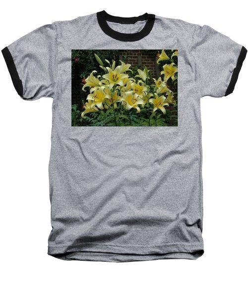 Yellow Oriental Stargazer Lilies Baseball T-Shirt by Tom Wurl