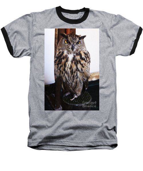 Yellow Owl Eyes Baseball T-Shirt