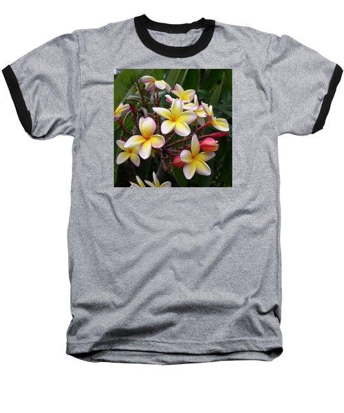 Yellow Plumeria Baseball T-Shirt by Claude McCoy