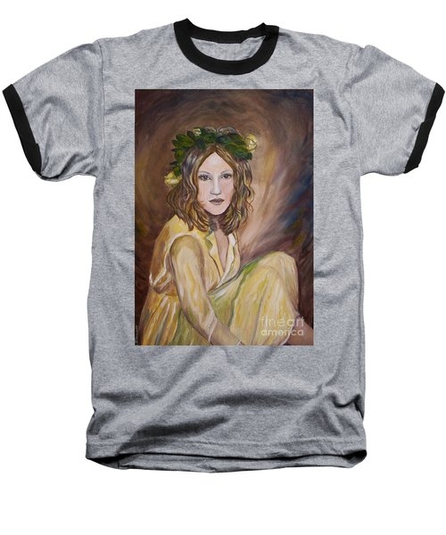 Baseball T-Shirt featuring the painting Yellow Rose by Julie Brugh Riffey