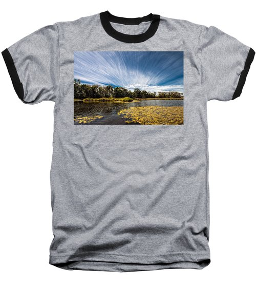 Baseball T-Shirt featuring the photograph You Cannot Be Cirrus by Tom Gort