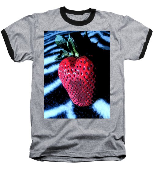 Zebra Strawberry Baseball T-Shirt by Kym Backland