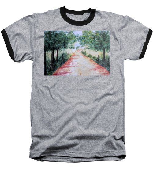 A Country Road Baseball T-Shirt by Vicki  Housel