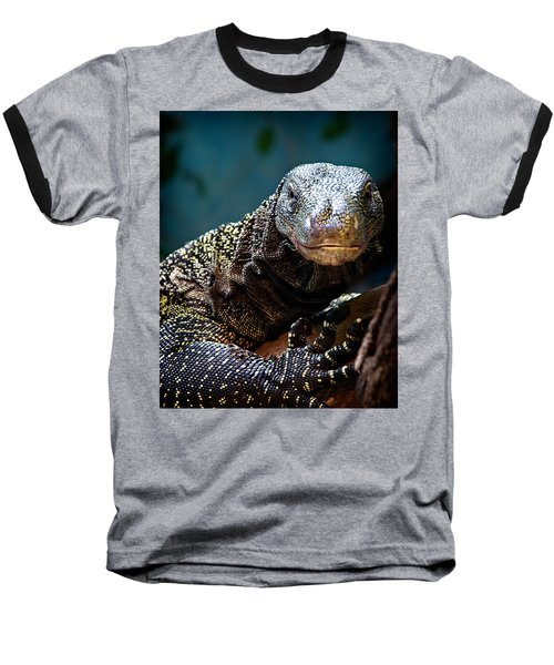 A Crocodile Monitor Portrait Baseball T-Shirt