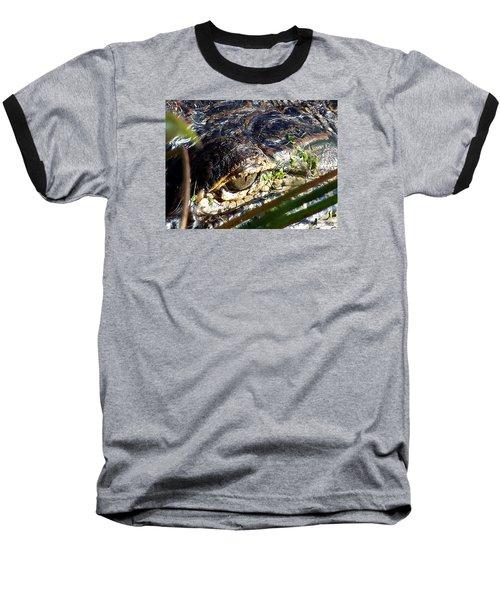 Alligator Eye  Baseball T-Shirt by Chris Mercer