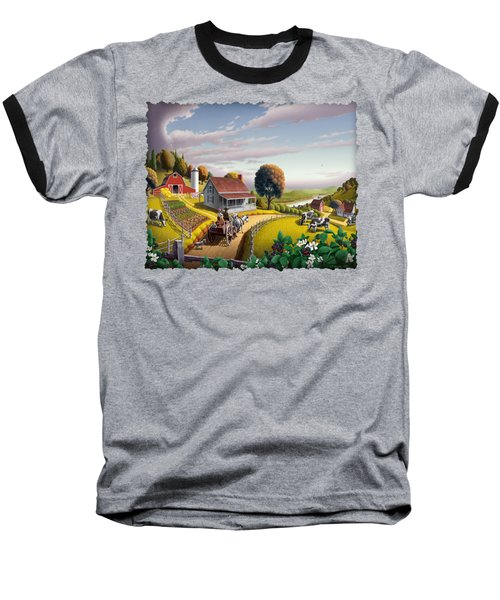 Appalachian Blackberry Patch Rustic Country Farm Folk Art Landscape - Rural Americana - Peaceful Baseball T-Shirt by Walt Curlee
