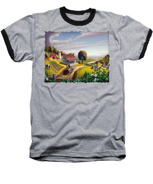 Appalachian Blackberry Patch Rustic Country Farm Folk Art Landscape - Rural Americana - Peaceful Baseball T-Shirt by Walt Curlee