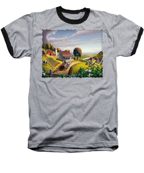 Appalachian Blackberry Patch Rustic Country Farm Folk Art Landscape - Rural Americana - Peaceful Baseball T-Shirt