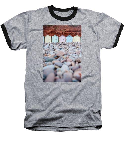 Beach Huts And Pebbles Baseball T-Shirt