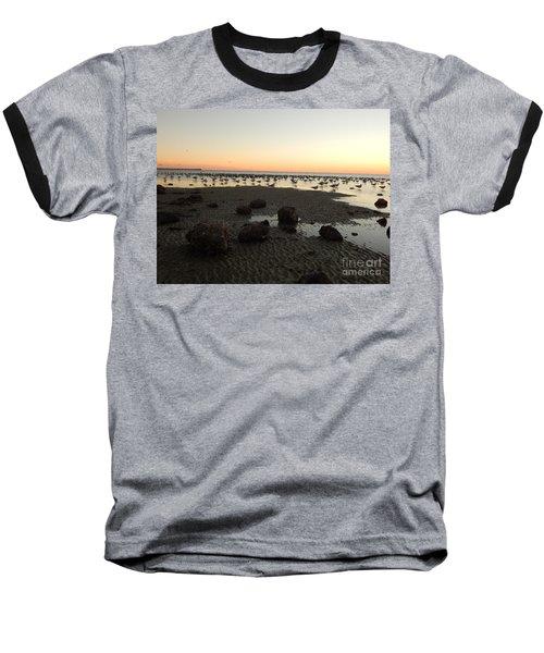 Beach Rocks Barnacles And Birds Baseball T-Shirt