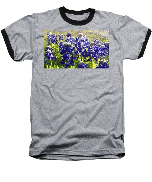 Baseball T-Shirt featuring the painting  Bluebonnet Morning by Karen Kennedy Chatham