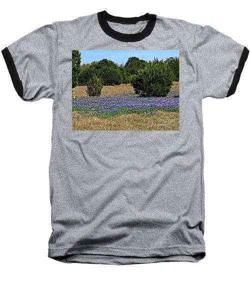 Baseball T-Shirt featuring the photograph  Bluebonnet Trail - No.2016 by Joe Finney