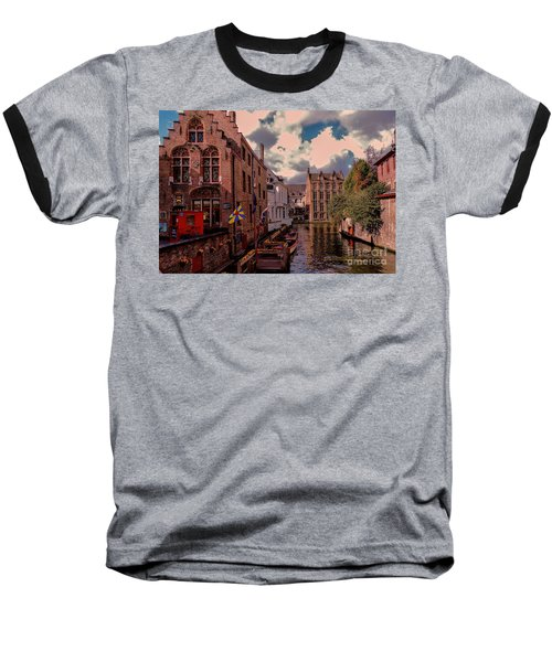 Baseball T-Shirt featuring the photograph  Brugge Belgium by Mim White
