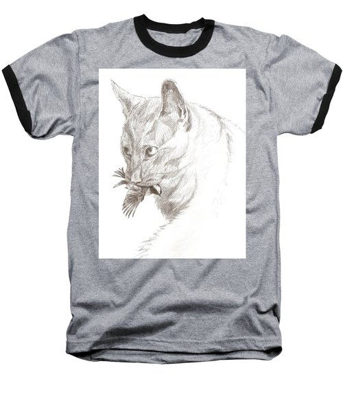 Cat And Chickadee Baseball T-Shirt