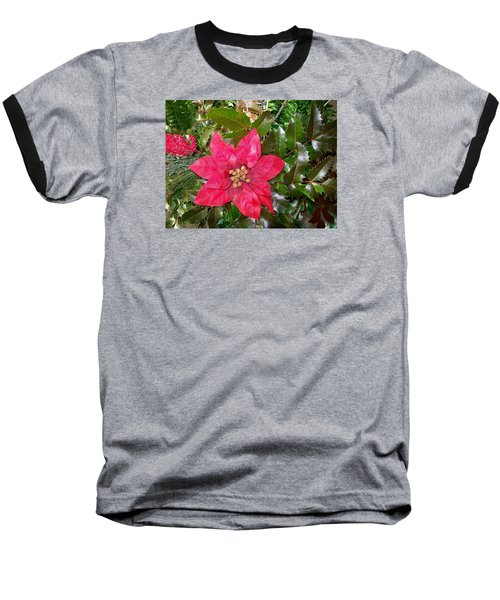 Christmas Poinsettia Baseball T-Shirt