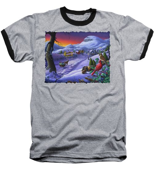 Christmas Sleigh Ride Winter Landscape Oil Painting - Cardinals Country Farm - Small Town Folk Art Baseball T-Shirt