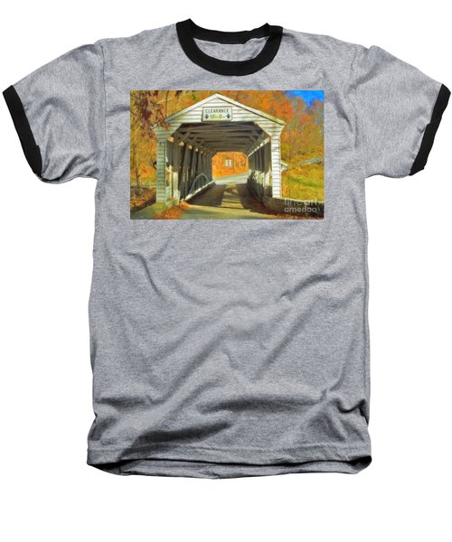 Baseball T-Shirt featuring the photograph  Covered Bridge Watercolor  by David Zanzinger