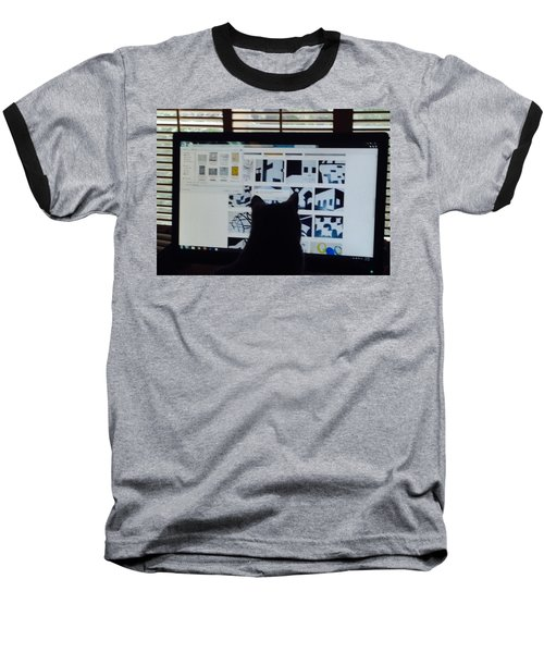 Baseball T-Shirt featuring the photograph  Critic Cat by Erika Chamberlin