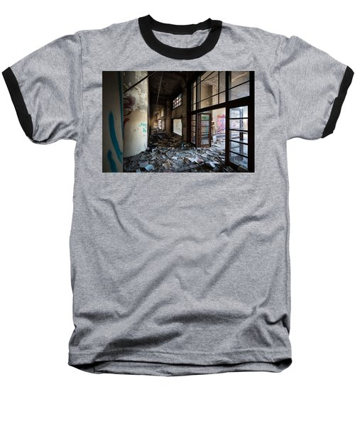 Demolished School Building- Urban Decay Baseball T-Shirt