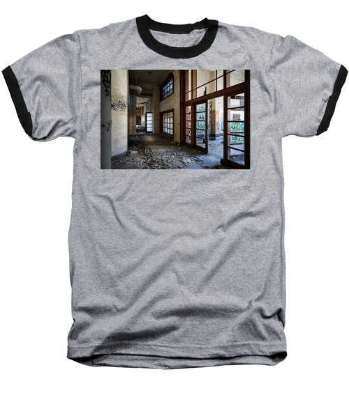 Demolished School Building- Urban Exploration Baseball T-Shirt