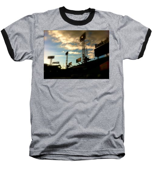 Baseball T-Shirt featuring the photograph  Fenway Lights Fenway Park David Pucciarelli  by Iconic Images Art Gallery David Pucciarelli