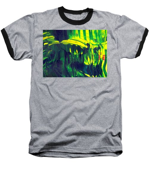 First Date - Green Abstract Mixed Media Painting Baseball T-Shirt