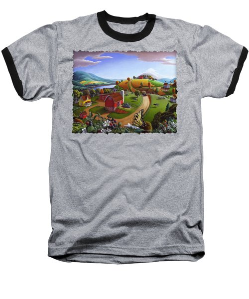 Folk Art Blackberry Patch Rural Country Farm Landscape Painting - Blackberries Rustic Americana Baseball T-Shirt