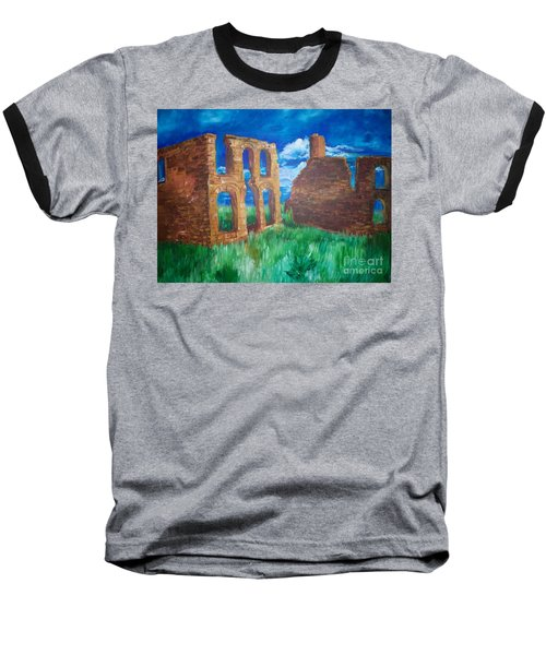 Baseball T-Shirt featuring the painting  Ghost Town  by Eric  Schiabor