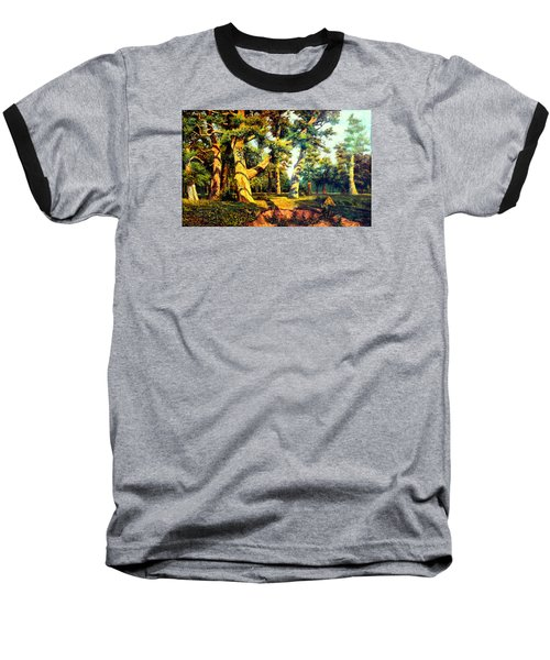 Baseball T-Shirt featuring the painting   Green Summer-the Oak Forest by Henryk Gorecki