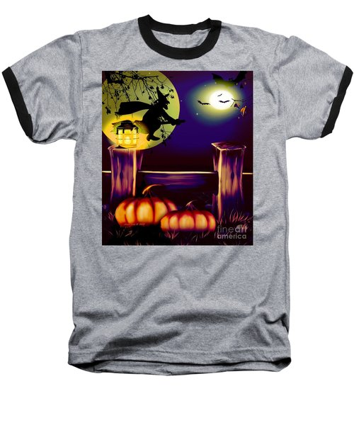 Halloween Witches Moon Bats And Pumpkins Baseball T-Shirt by Annie Zeno