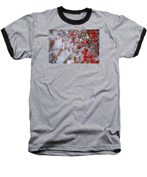 Baseball T-Shirt featuring the photograph  Holiday Ice by Heidi Poulin