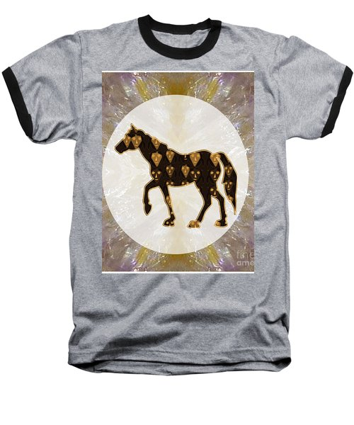 Horse Prancing Abstract Graphic Filled Cartoon Humor Faces Download Option For Personal Commercial  Baseball T-Shirt by Navin Joshi