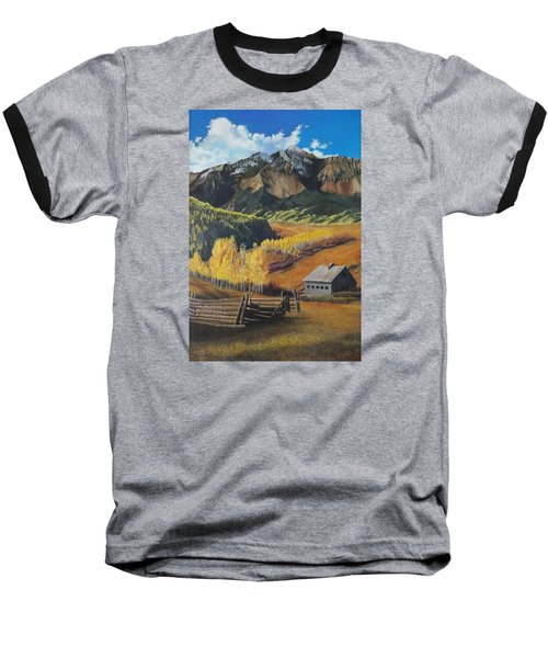 I Will Lift Up My Eyes To The Hills Autumn Nostalgia  Wilson Peak Colorado Baseball T-Shirt by Anastasia Savage Ealy