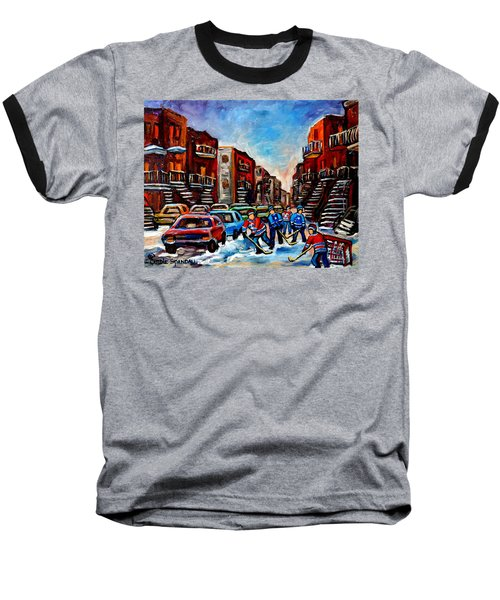 Baseball T-Shirt featuring the painting  Late Afternoon Street Hockey by Carole Spandau