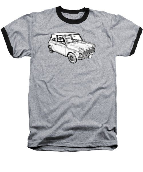Mini Cooper Illustration Baseball T-Shirt by Keith Webber Jr