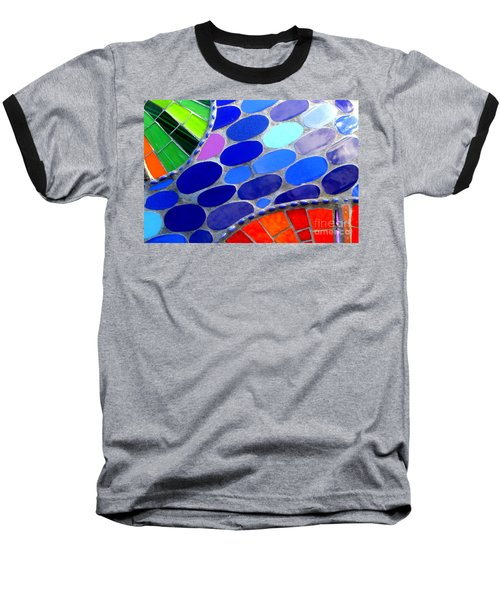 Mosaic Abstract Of The Blue Green Red Orange Stones Baseball T-Shirt by Michael Hoard