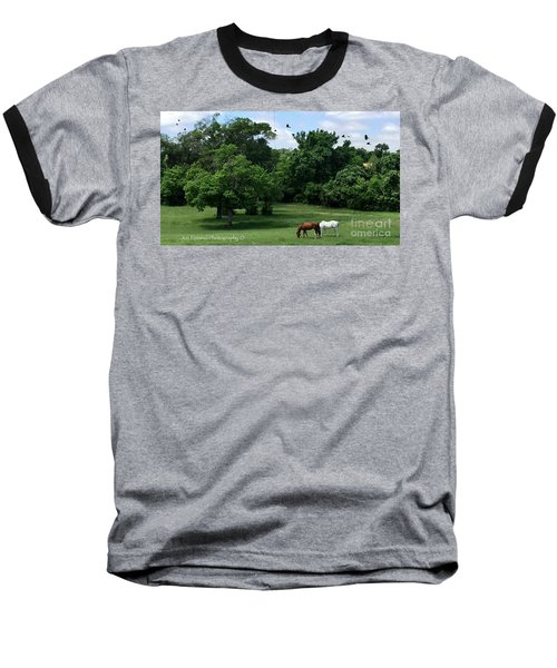Baseball T-Shirt featuring the photograph  Mr. And Mrs. Horse - No. 195 by Joe Finney