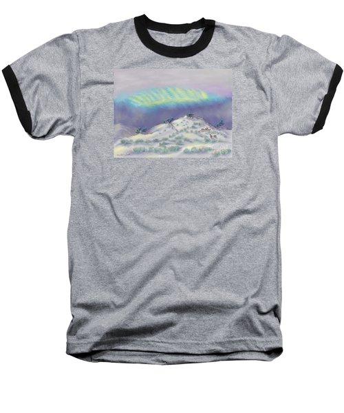 Peaceful Snowy Sunrise Baseball T-Shirt