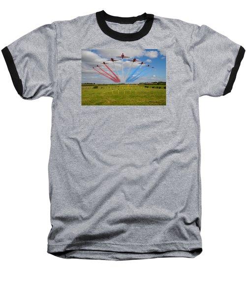 Red Arrows Running In At Brize Baseball T-Shirt by Ken Brannen