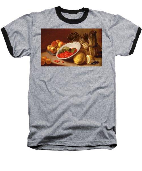 Still Life Of Raspberries Lemons And Asparagus  Baseball T-Shirt by Italian School