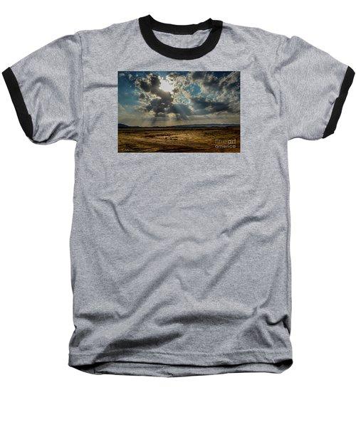Stormy  Light Rays  Baseball T-Shirt by Arik Baltinester