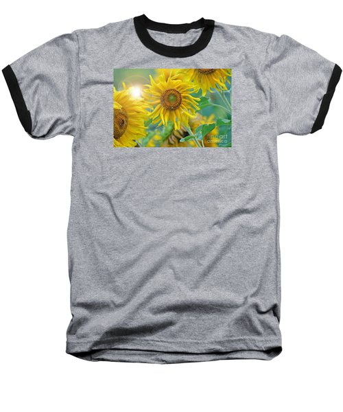 Baseball T-Shirt featuring the photograph  Sunflower by Lila Fisher-Wenzel