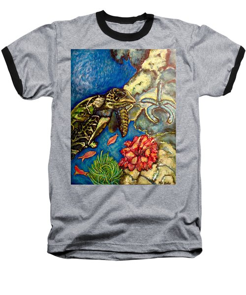 Baseball T-Shirt featuring the painting  Sweet Mystery Of The Sea A Hawksbill Sea Turtle Coasting In The Coral Reefs Original by Kimberlee Baxter