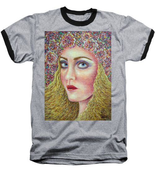 Baseball T-Shirt featuring the painting   The Flower Girl by Natalie Holland