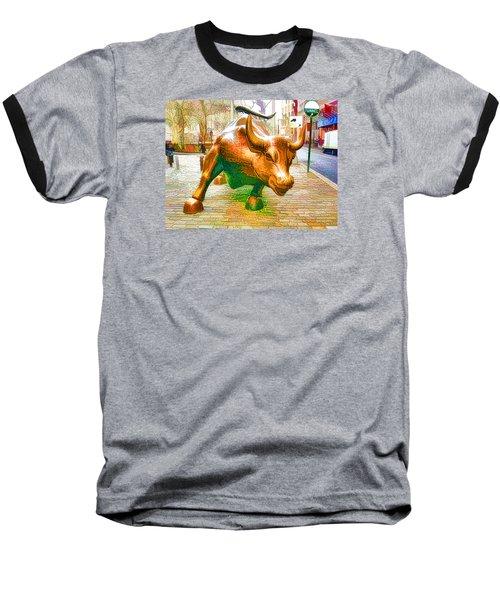 The Landmark Charging Bull In Lower Manhattan  Baseball T-Shirt