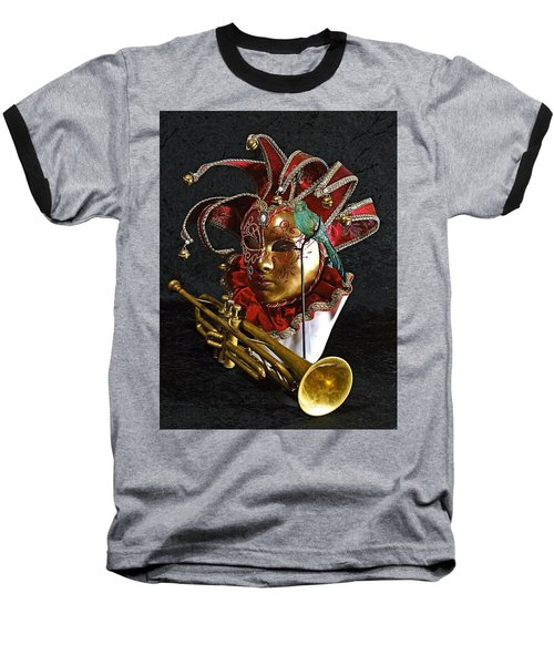 Venitian Joker Baseball T-Shirt by Elf Evans